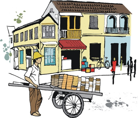 Vector illustratie van kruiwagen verkoper, Hoi An, Vietnam