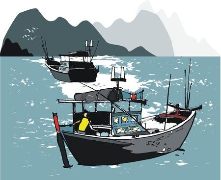 Vector illustratie van vissersboten, Vietnam