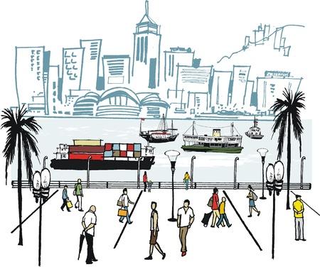 Vector illustratie van de haven van Hongkong en de skyline