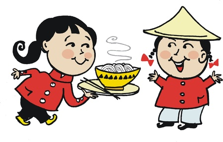 asian man smiling: Vector cartoon of Asian couple with noodle soup
