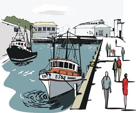 Vector illustratie van Wellington de boot de haven, Nieuw-Zeeland