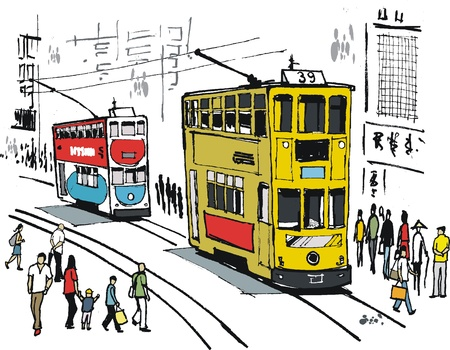 busy city: Illustration of Hong Kong trams in city