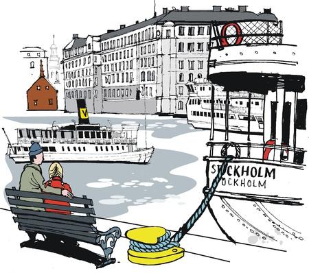 Vector illustratie van de haven van Stockholm en gebouwen