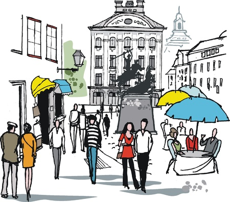 outdoor dining: Vector illustration of pedestrians in historic Stockholm