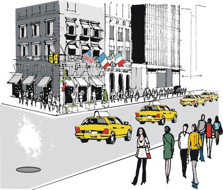 new york street: Vector illustration de taxis sur la Cinqui�me Avenue, � New York Illustration