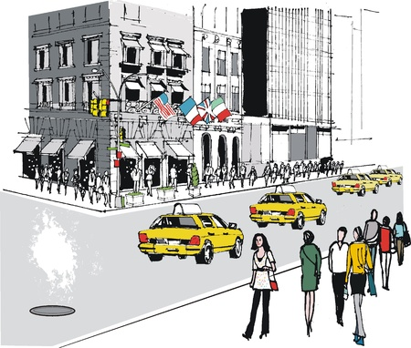 old street: Vector illustration of taxis on Fifth Avenue, New York