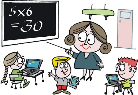 Vector cartoon of schoolteacher pointing to blackboard Vector