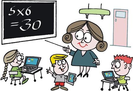 multiplicacion: Vector de dibujos animados de maestro de escuela que apunta a la pizarra