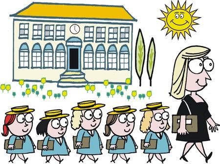 Vector cartoon van de leraar op school die leerlingen voor wandelen