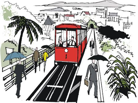 car drawing: Vector illustration of cable car, Wellington New Zealand