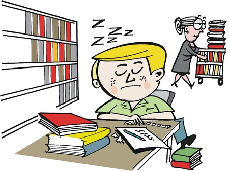 bored: Vector cartoon of student dozing in school library