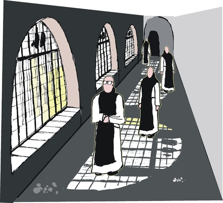 Vector illustration of robed monks in monastery Vector