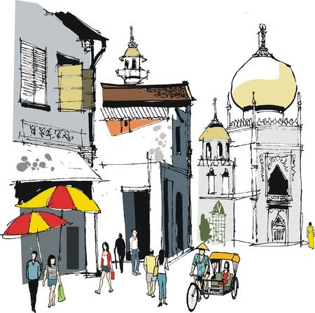 Vector illustratie van de oude Singapore gebouwen en mensen Stock Illustratie
