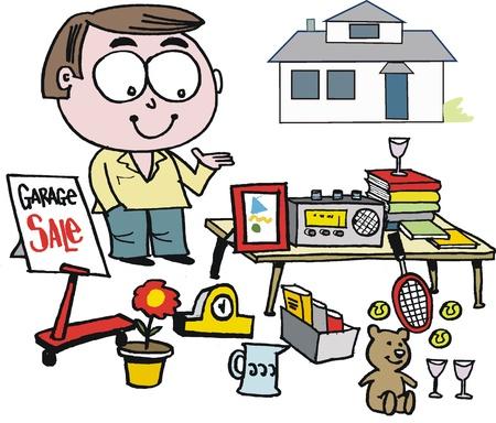 clock radio: Vector de dibujos animados de la venta de garaje hombre que sostiene