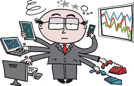 overwhelmed: Vector cartoon of overworked business executive