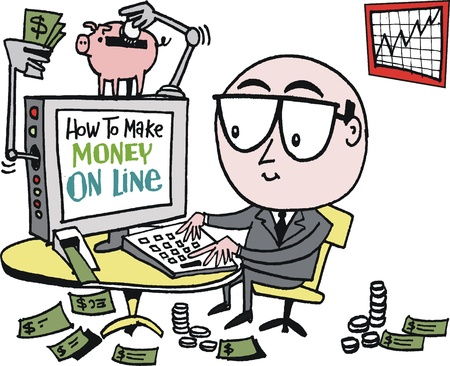 Vector cartoon of business executive making money on line