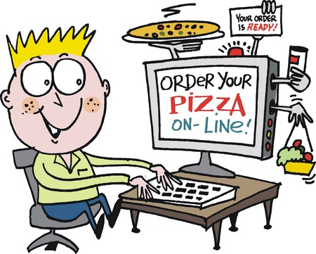 Vector cartoon of boy ordering pizza on internet Vector