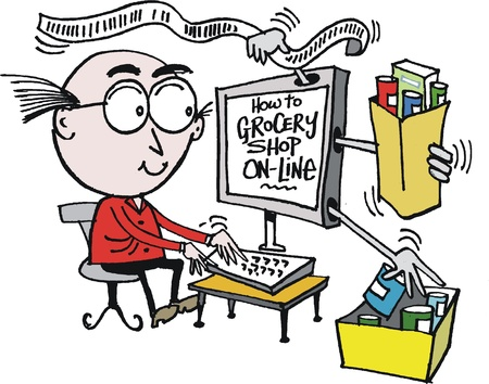 purchasing: Vector cartoon of man buying groceries on line