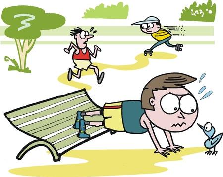 Vector de dibujos animados de hombre haciendo ejercicios en el parque Foto de archivo - 12804026