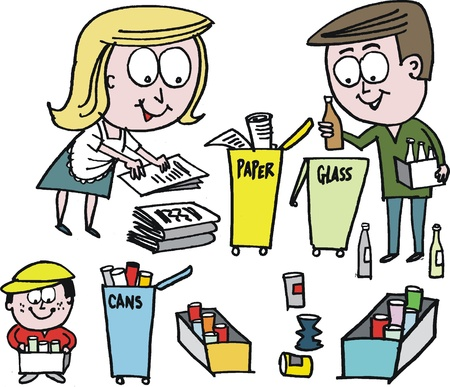 recycling bottles: Vector cartoon of family recycling paper, glass and cans