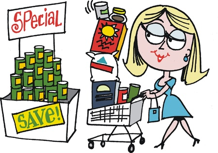 happy shopper: Vector cartoon of woman shopping in supermarket
