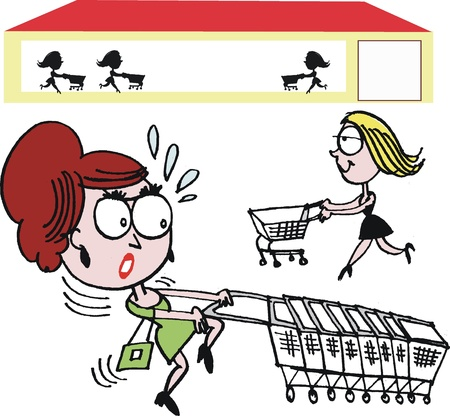 shopping trolley: Vector cartoon of woman with shopping trolley