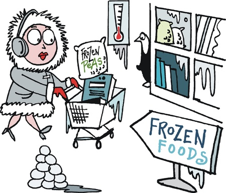 chilled: Vector cartoon of woman shopping for frozen foods in supermarket Illustration