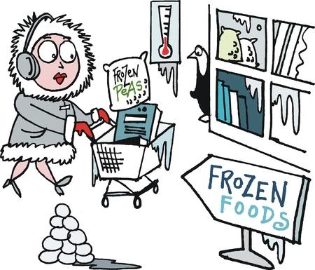 mujer en el supermercado: Vector de dibujos animados de las compras en la mujer para los alimentos congelados en supermercados Vectores