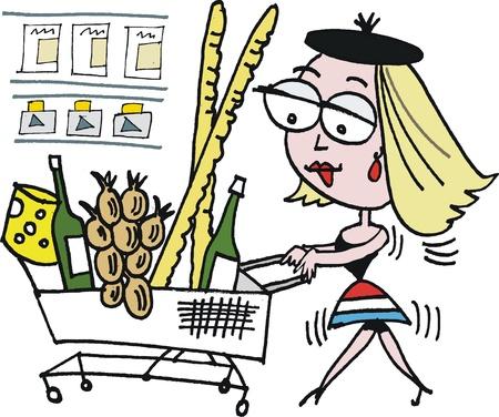 mujer en el supermercado: Vector de dibujos animados de las compras en el supermercado mujer francesa