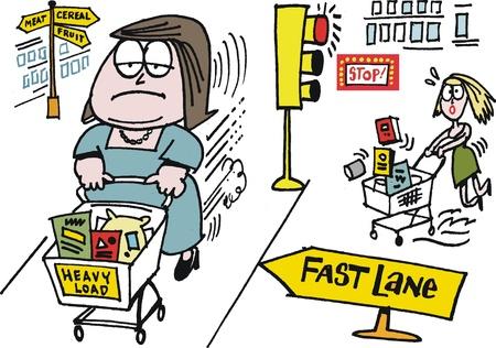 Vector cartoon of woman shoppers in supermarket Vector