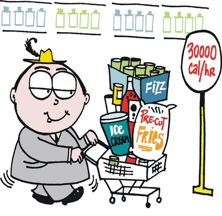 Vector cartoon of overweight man shopping for groceries Stock Vector - 12804040