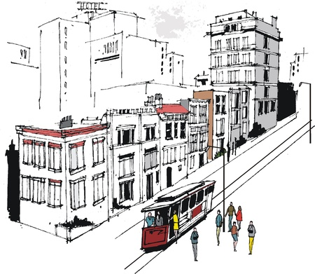 waiting in line: Vector illustration of San Francisco buildings and trolley car