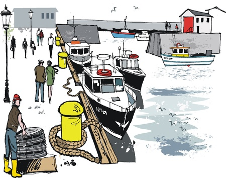 fisherman boat: Vector illustration of Scottish fishing port Illustration