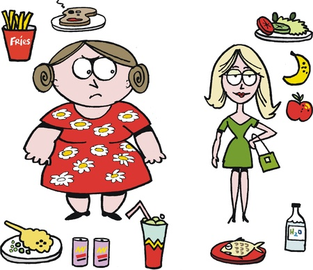 overeating: Vector cartoon showing overweight woman