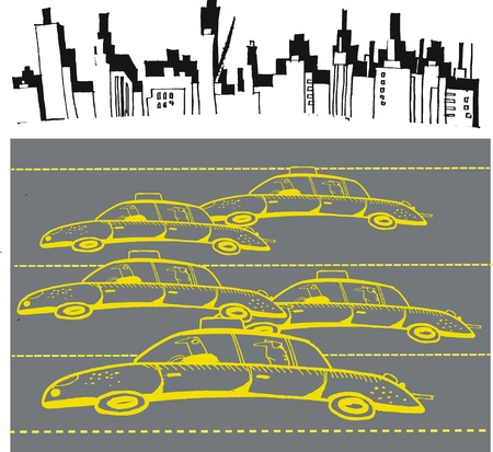 Cartoon of taxis in New York street Vector