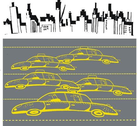 new york street: Cartoon of taxis in New York street Illustration