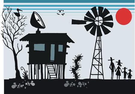Cartoon of old shack in Australian outback Vector