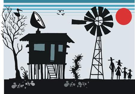 stilts: Cartoon of old shack in Australian outback