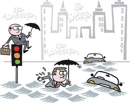stranded: Cartoon of business executive stranded by floods