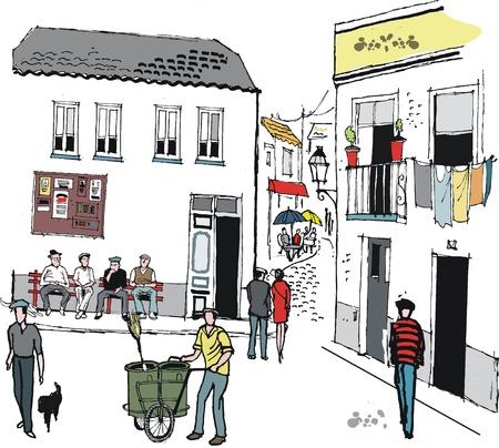 ink sketch: Illustrazione di strada del villaggio antico in Portogallo Vettoriali