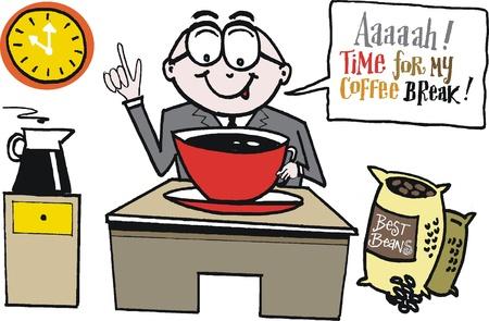 chicchi caff� su sfondo bianco: Vector cartoon di uomo d'affari con tazza di caff�