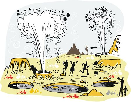 gusher: Vector illustration of tourists photographing geysers