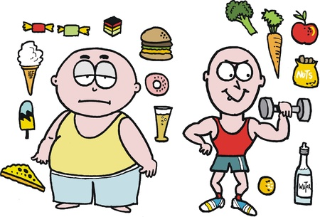 cartoon of lazy overweight man with junk food