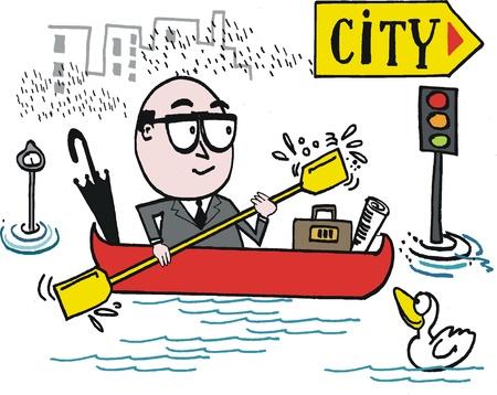 cartoon of business executive in canoe. Stock Vector - 13216647