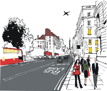 illustration of commuters on London city street