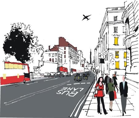 illustratie van de pendelaars op de Londense straat in de stad