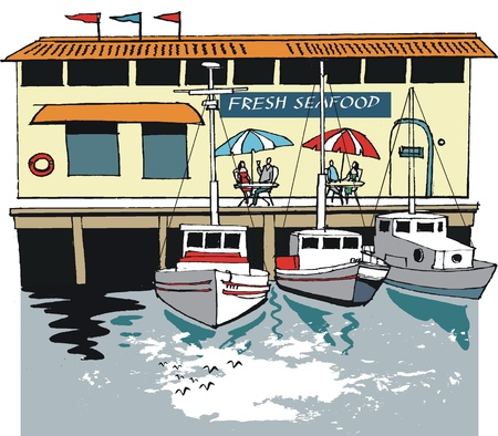 wharf: illustration of boats and seafood restaurant