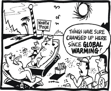 Vector cartoon showing global warming at North Pole