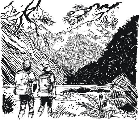 Vector illustration de randonneurs dans la vallée de montagne