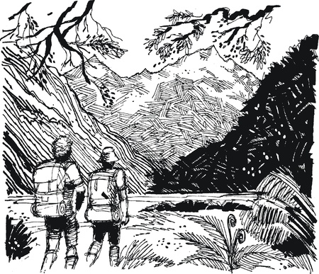 discovering: Vector illustration of hikers in mountain valley